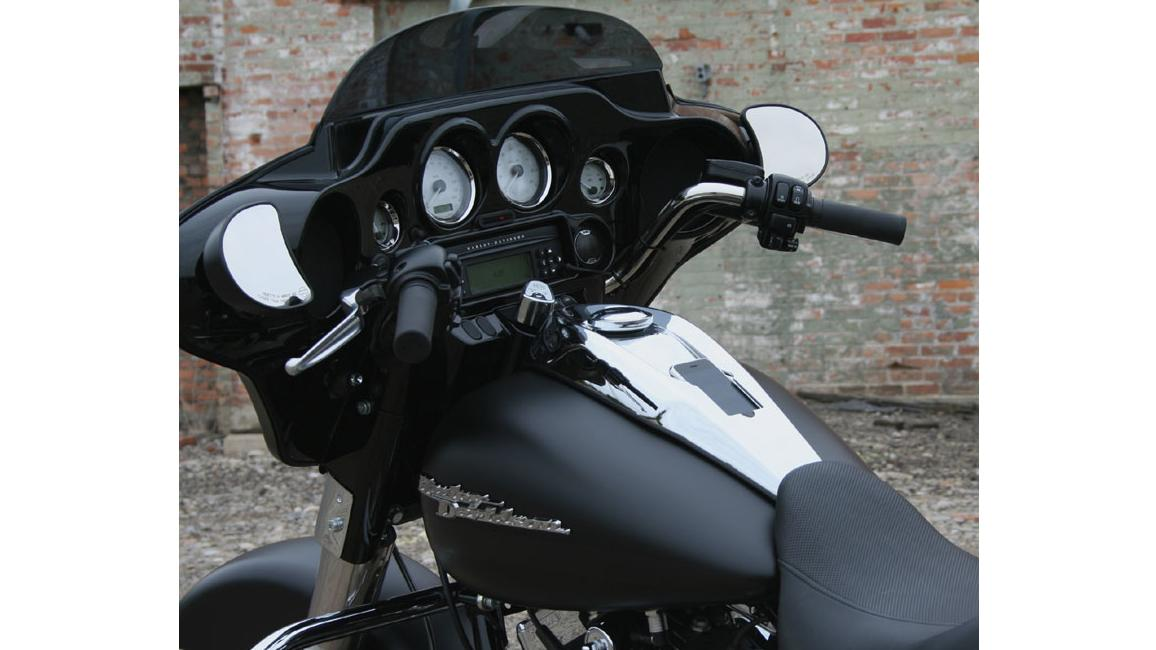 The DashLink replaces the stock fuel tank console on Harley-Davidson motorcycles