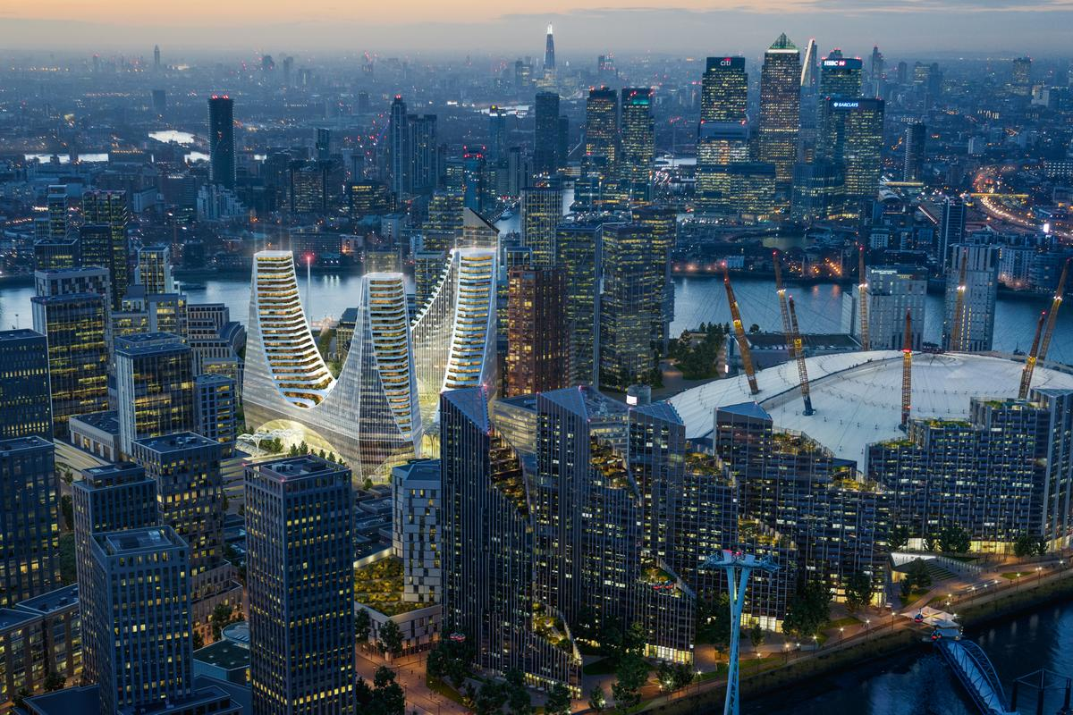 Peninsula Place is being developed by Knight Dragon and is part of a larger development of the Greenwich Peninsula