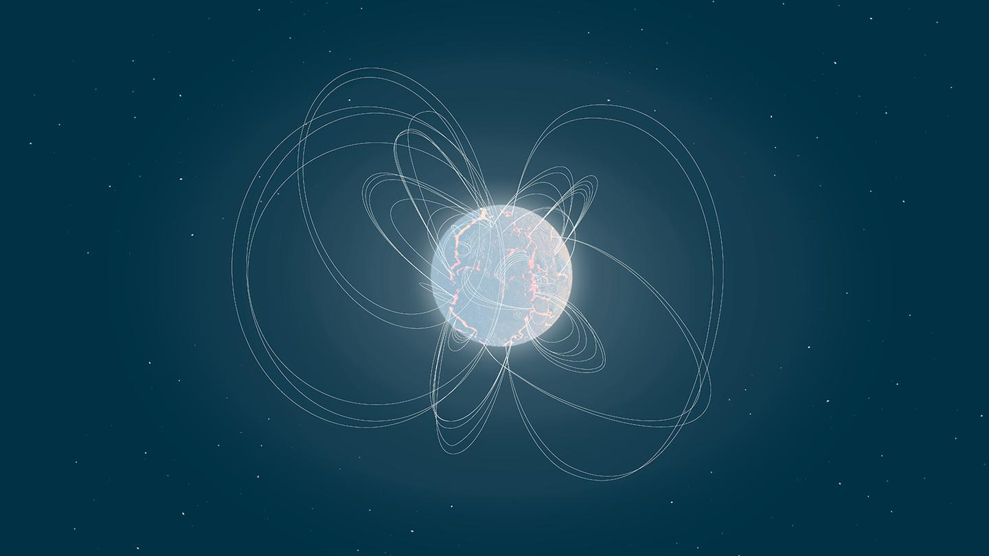 An artist's rendition of magnetar Swift J1818.0−1607