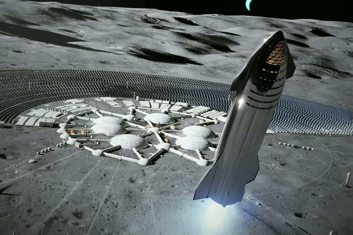 Artist's impression of a Starship spacecraft in close proximity to a lunar colony