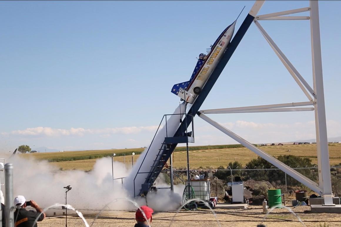Eddie Braun launches toward immortality in his 10,000 horsepower steam rocket, the Evel Spirit