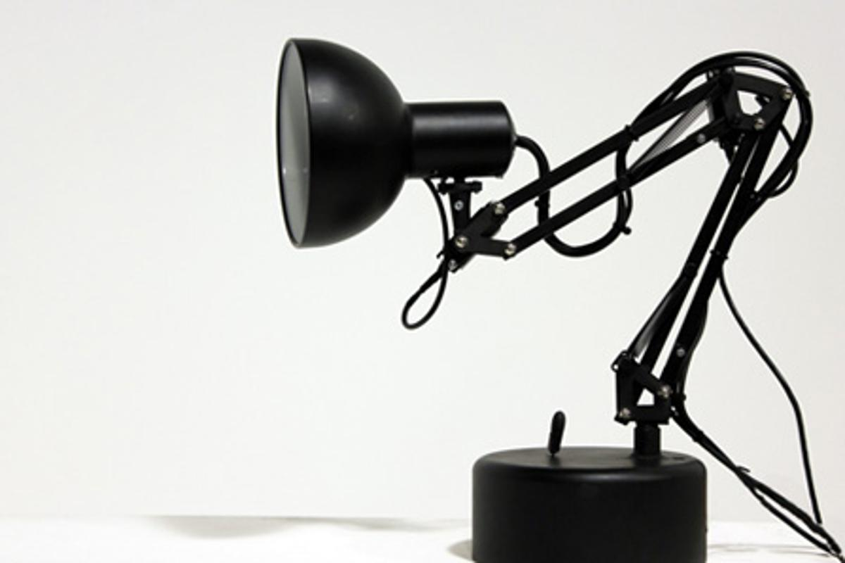 Pinokio, the robotic desk lamp, searches for faces to track once it's been turned on