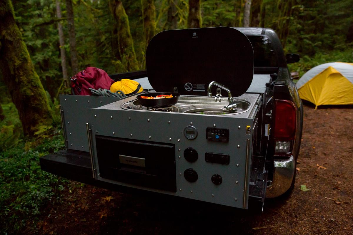 Talus brings cooking, electricity, water and cargo storage to the backcountry with its pickup-bed camper boxes