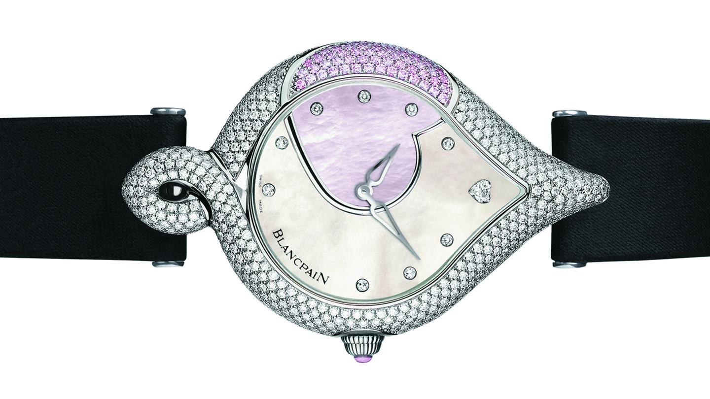 Blancpain's Valentine's 2010 edition watch has a mother-of-pearl dial and is set with over 500 diamonds and pink sapphires