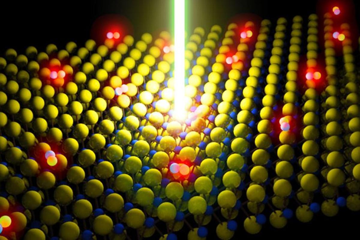 Defect-free monolayer semiconductors of MoS2, shown here being excited by a laser, could aid in the development of transparent LED displays, ultra-high efficiency solar cells, photo detectors and nanoscale transistors
