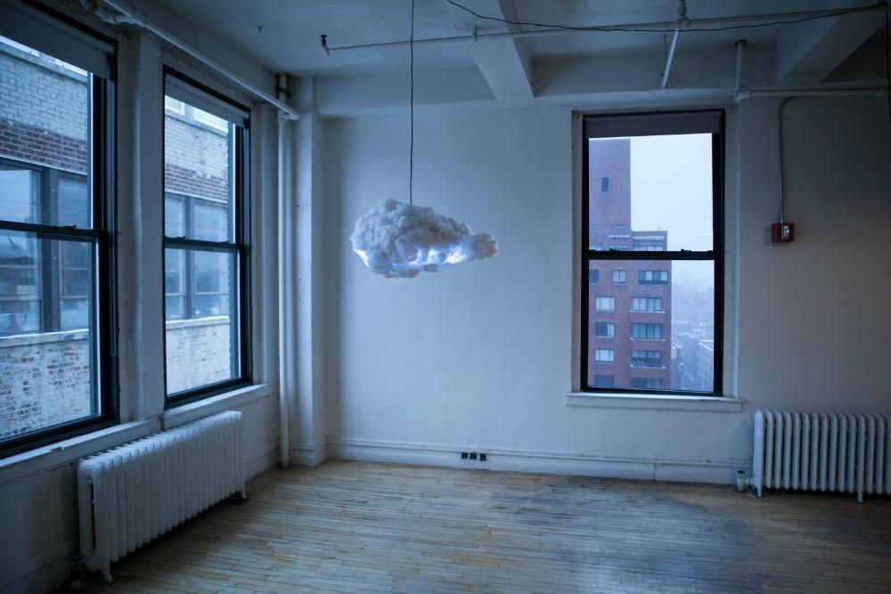 Cloud hangs from the ceiling of any room in your home just like any other light fitting