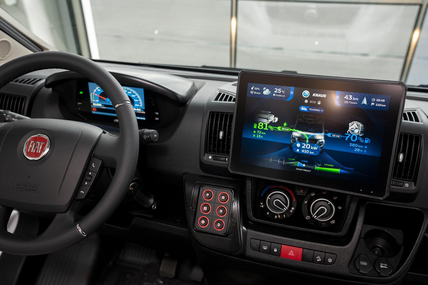 Knaus installed a large central touchscreen for both infotainment and drive information