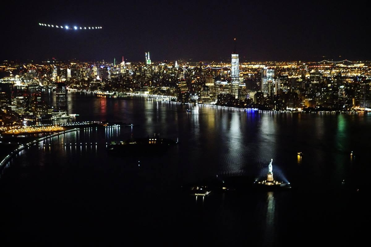 Solar Impulse 2 approaches the Statue of Liberty