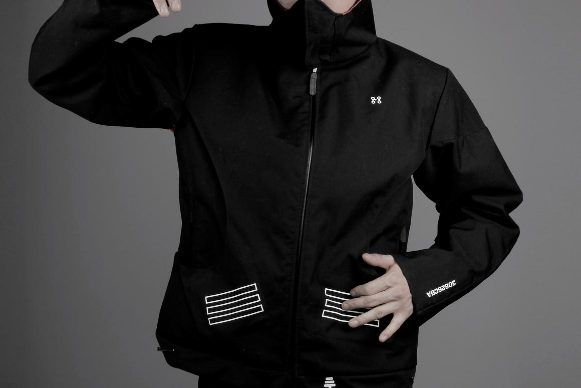 The MJ v01 MIDI Controller Jacket conceals a variety of sensors that sync to iOS and Android devices to create electronic music through the wearer's movements