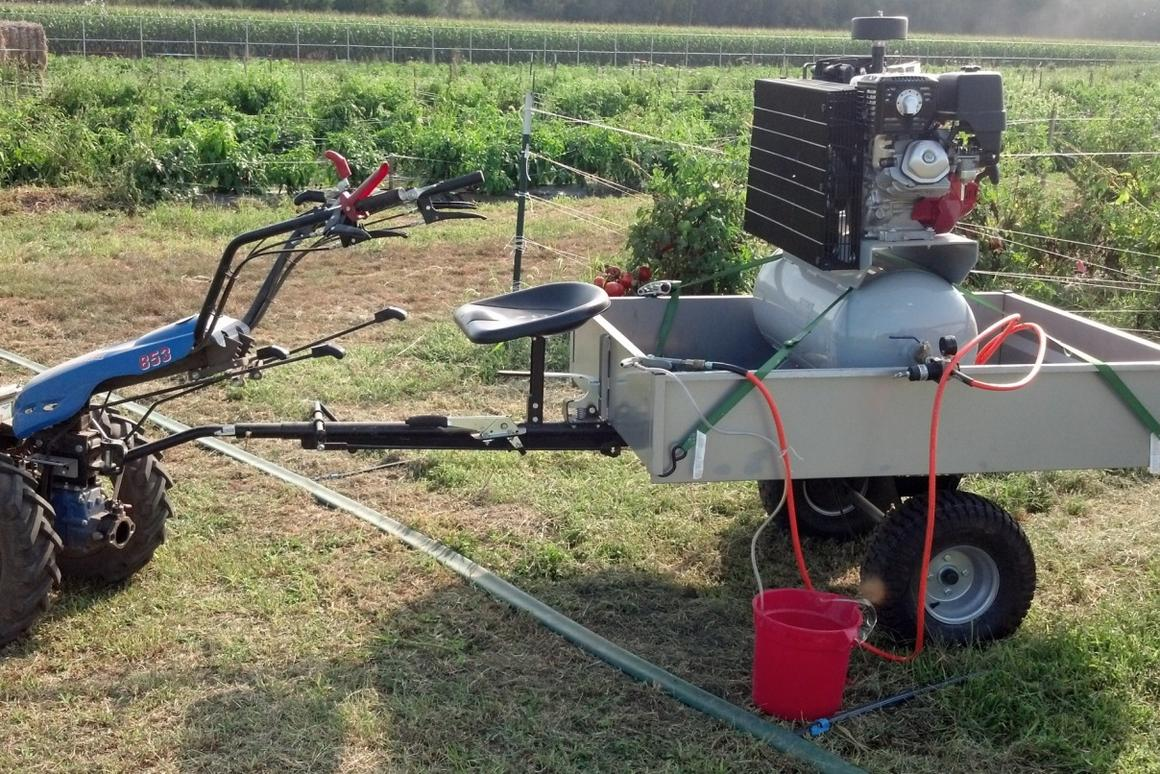 The abrasive weeding rig used in the experiments