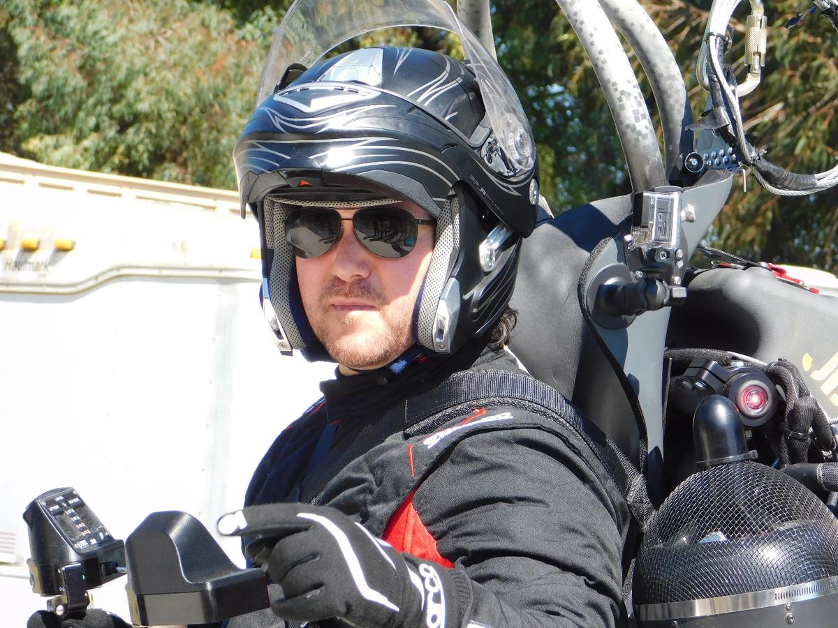 """YouTube host Mischa Pollack prepares to become the first """"civilian"""" to fly a jetpack"""