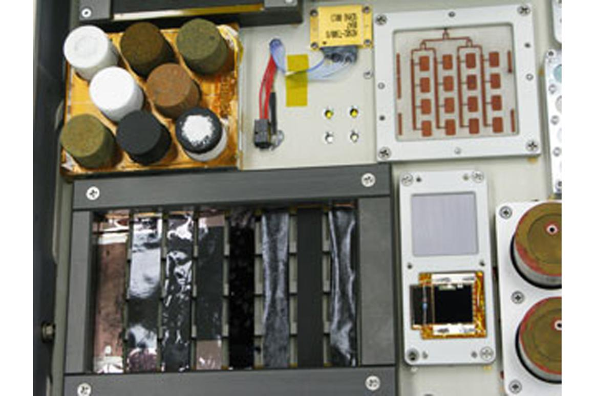 Samples of novel nanocomposite materials tha will be mounted to the hull of the space station, and tested to see how they weather the perils of space