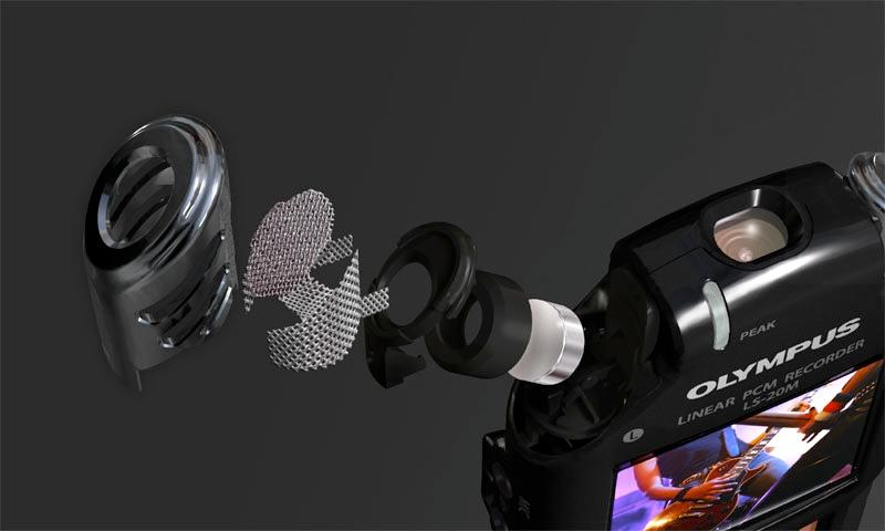 Exploded view of one of the two condenser microphones