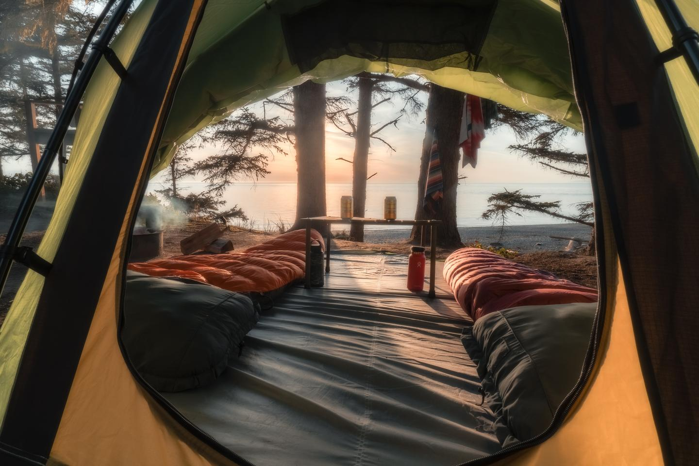 The view through the rear window of the opened-up Campo Escape M4 is unlike that of any other tent
