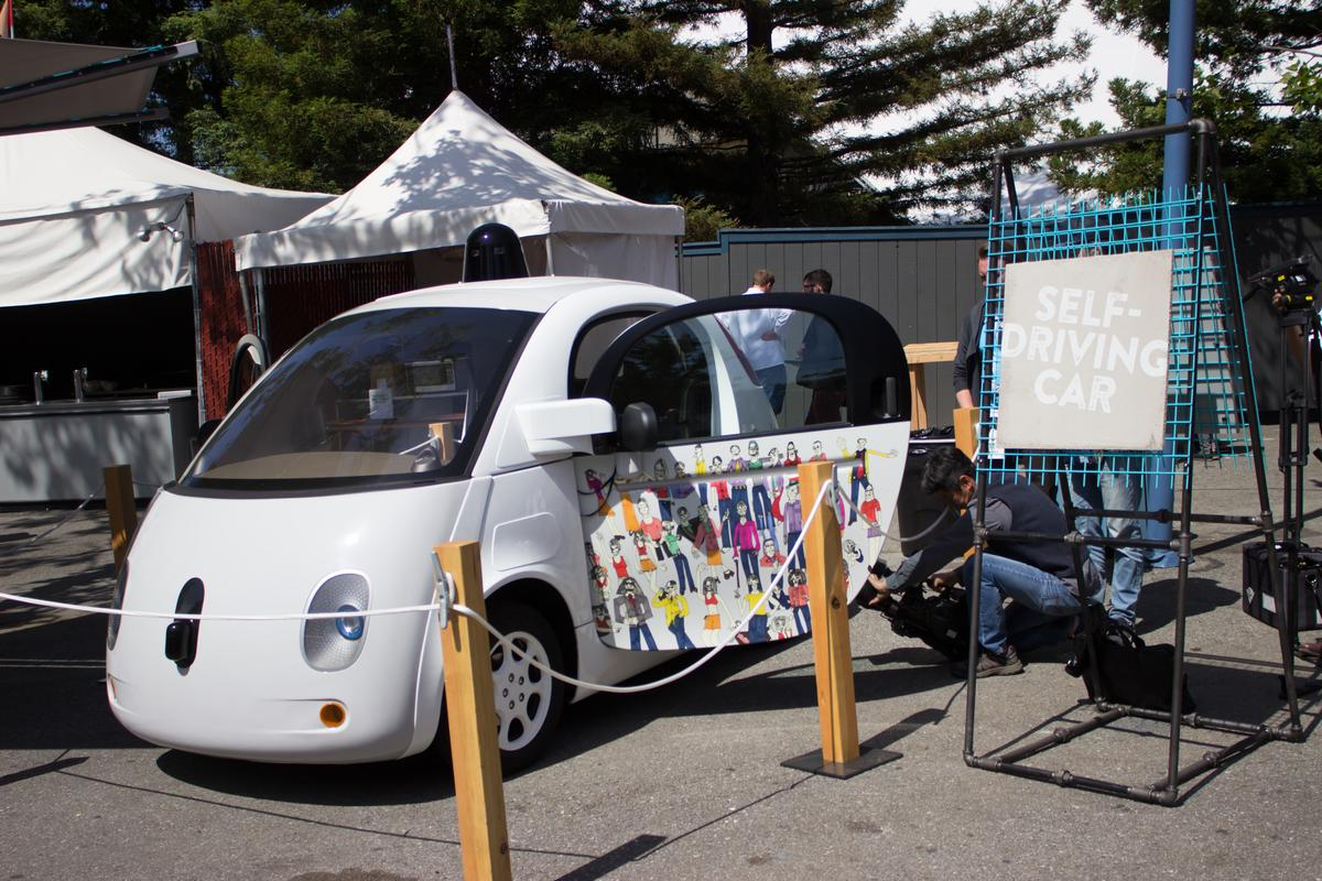 Some of Google's prototype self-driving cars are electric, so those nearby won't receive the same audible warning as if it was a gasoline engine approaching