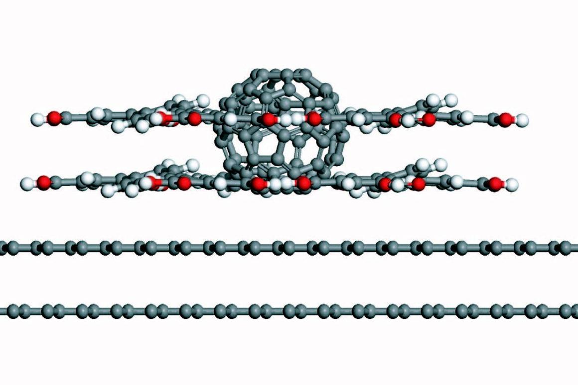 A diagram of the Carbon-60 buckyball guest molecule, with a second layer of host molecules formed around it (Image: Neil Champness)