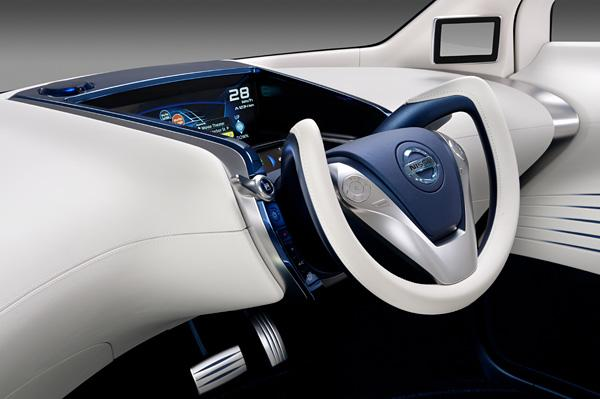 The Nissan PIVO 3 concept electric vehicle centrally positions the driver