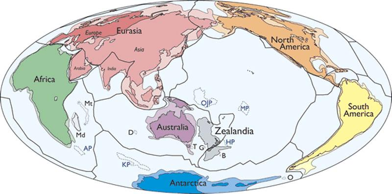 Map of Earth's continents, with Zealandia shown in gray