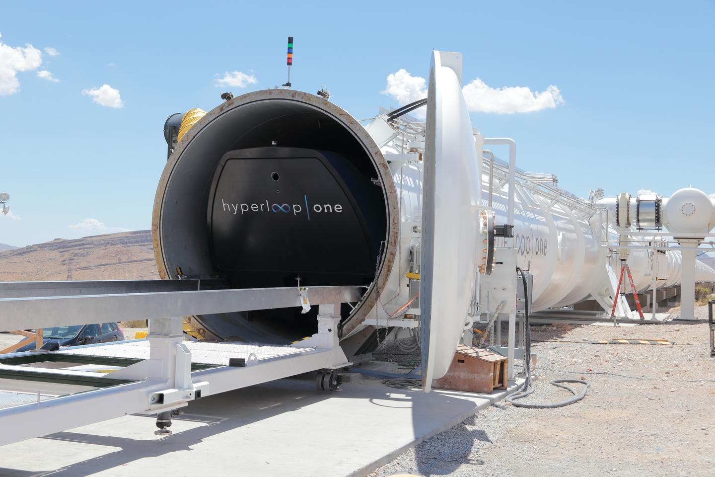 Hyperloop One's XP-1 pod enters the tube at the company's test facility