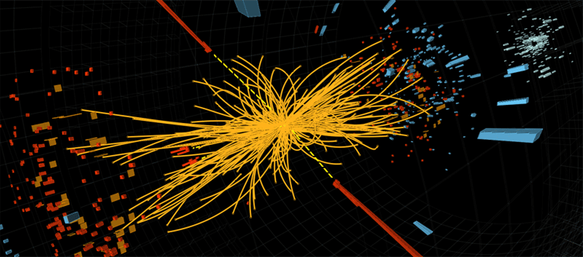A proton-proton collision observed by CMS produces two high-energy photons - behavior consistent with the decay of a Higgs boson (Image: CERN)