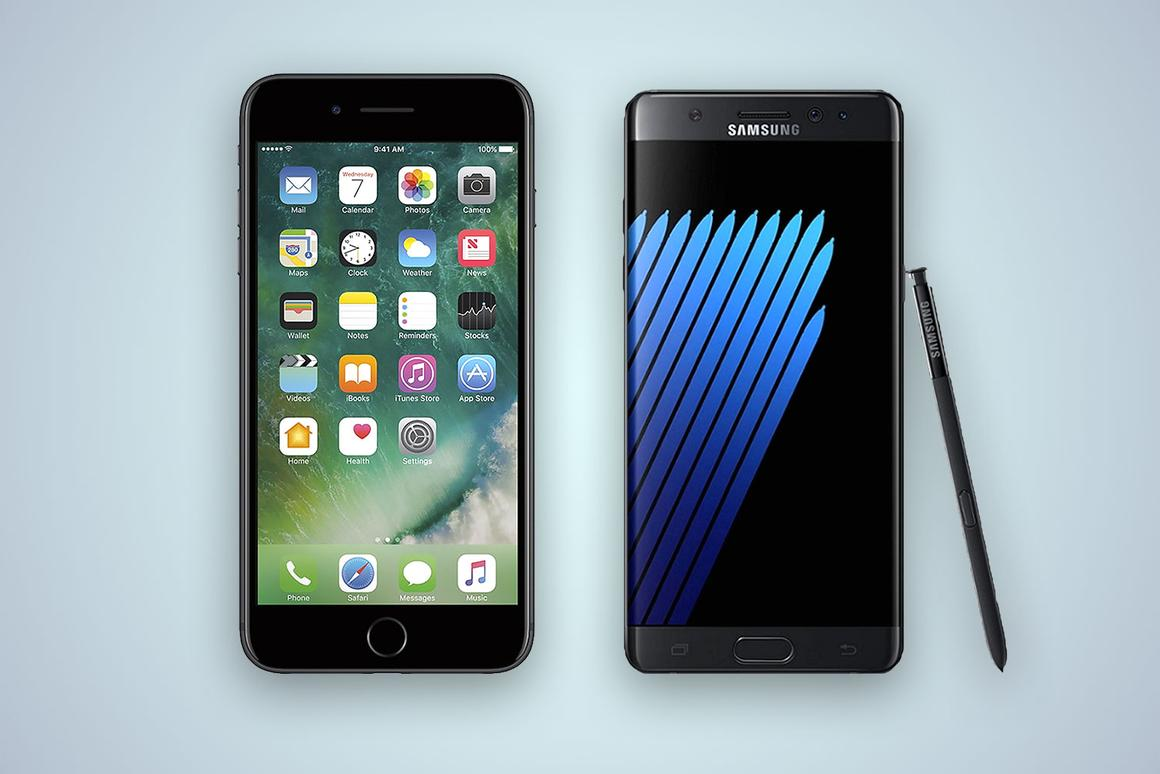 Side-by-side look at the iPhone 7 Plus and the Samsung Galaxy Note 7