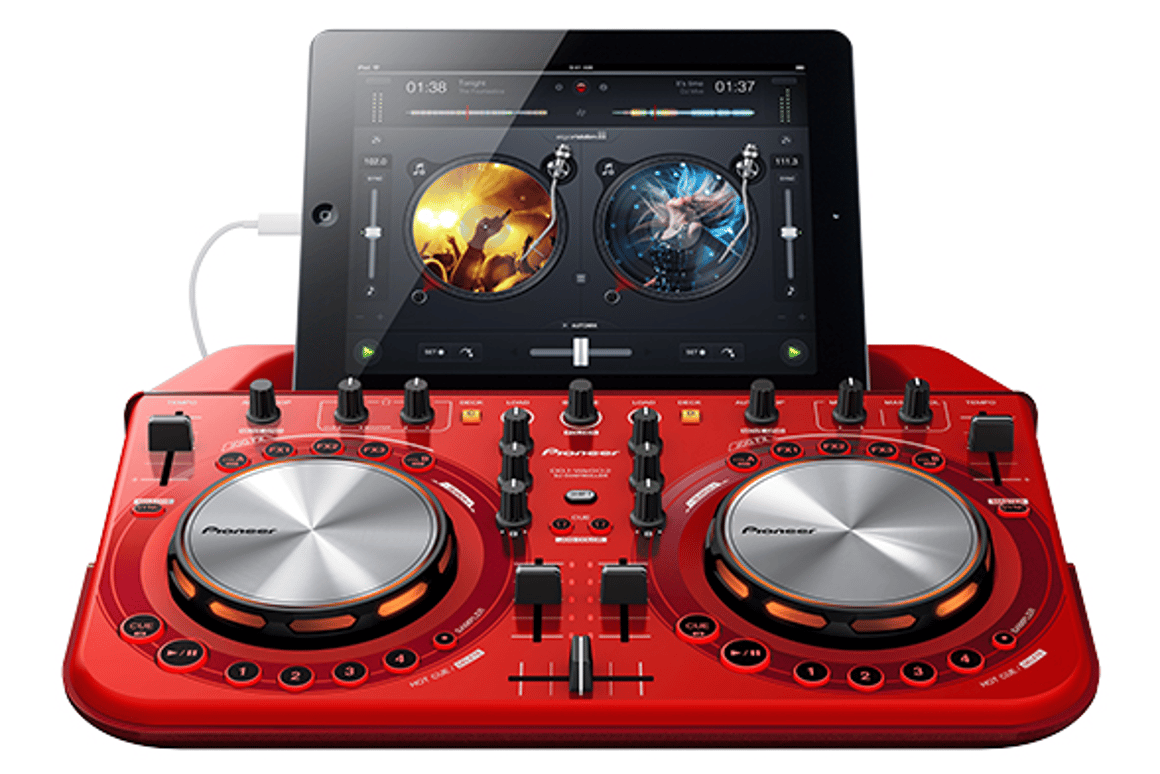 The front view of the new Pioneer WeGo2 DJ controller with an iPad