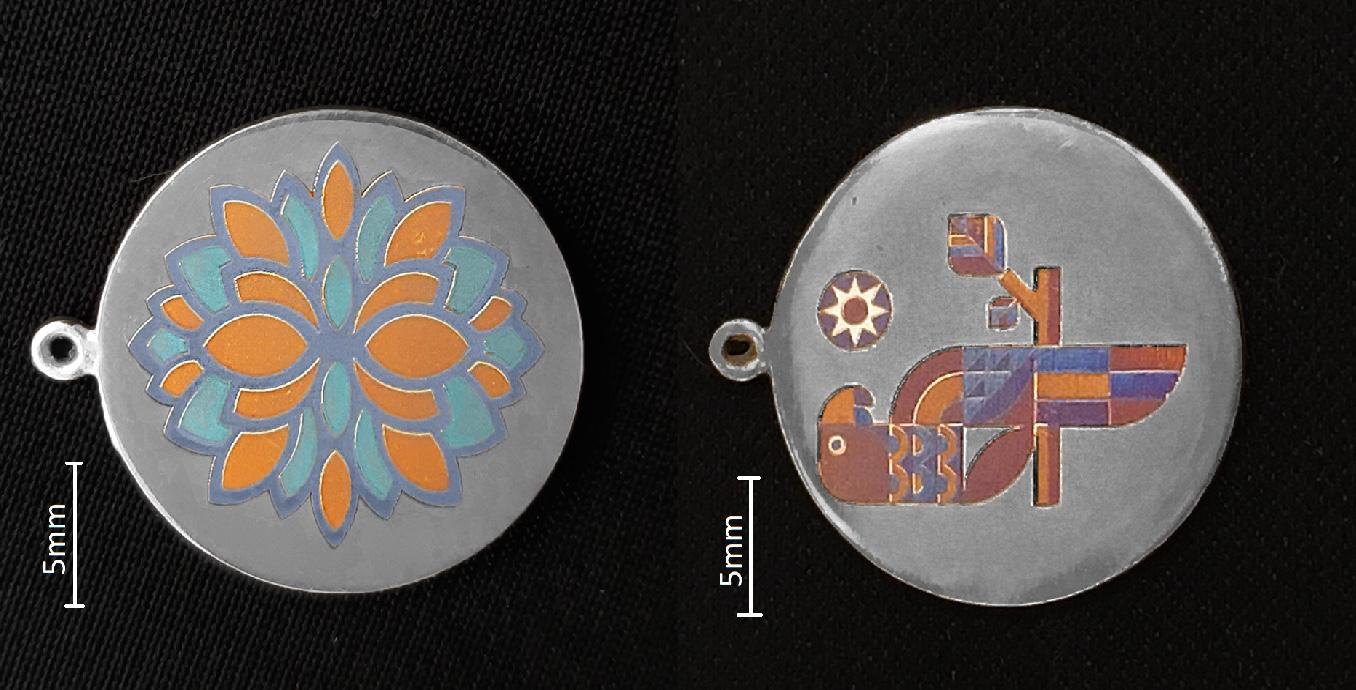 The team printed color graphics on silver, using the nanoparticle process