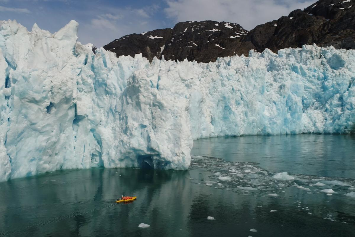 A robotic kayak measures meltwater in the sea near LeConte Glacier in Alaska