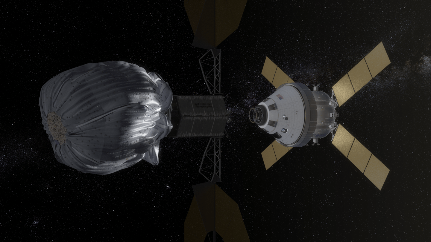 Orion spacecraft approaching the robotic asteroid capture vehicle (Image: NASA)