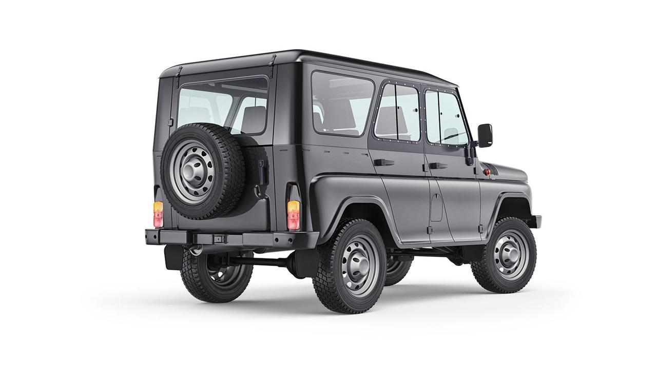 The UAZ Hunter uses rear drum brakes and a leaf spring rear suspension system