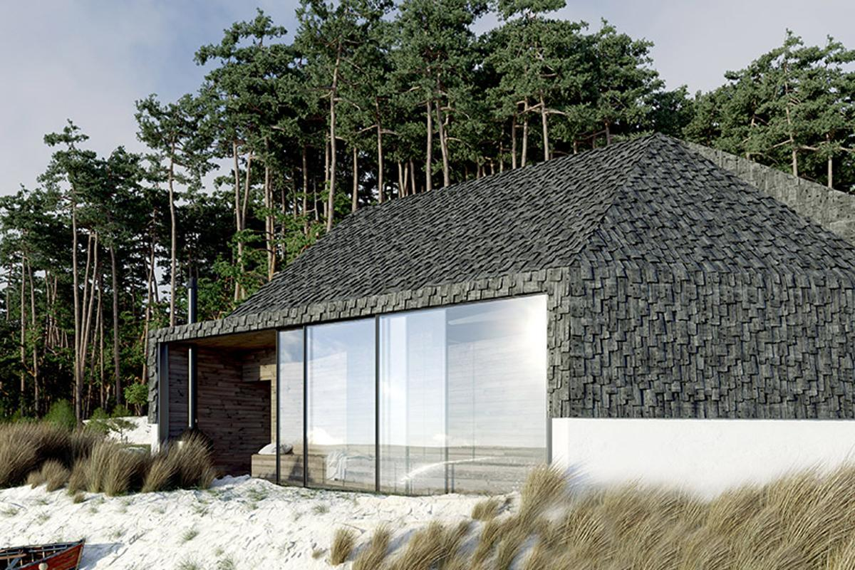 Polish design and architecture studio Zup-a has come up with a tiny beach cabin that is clad in raw wooden tiles
