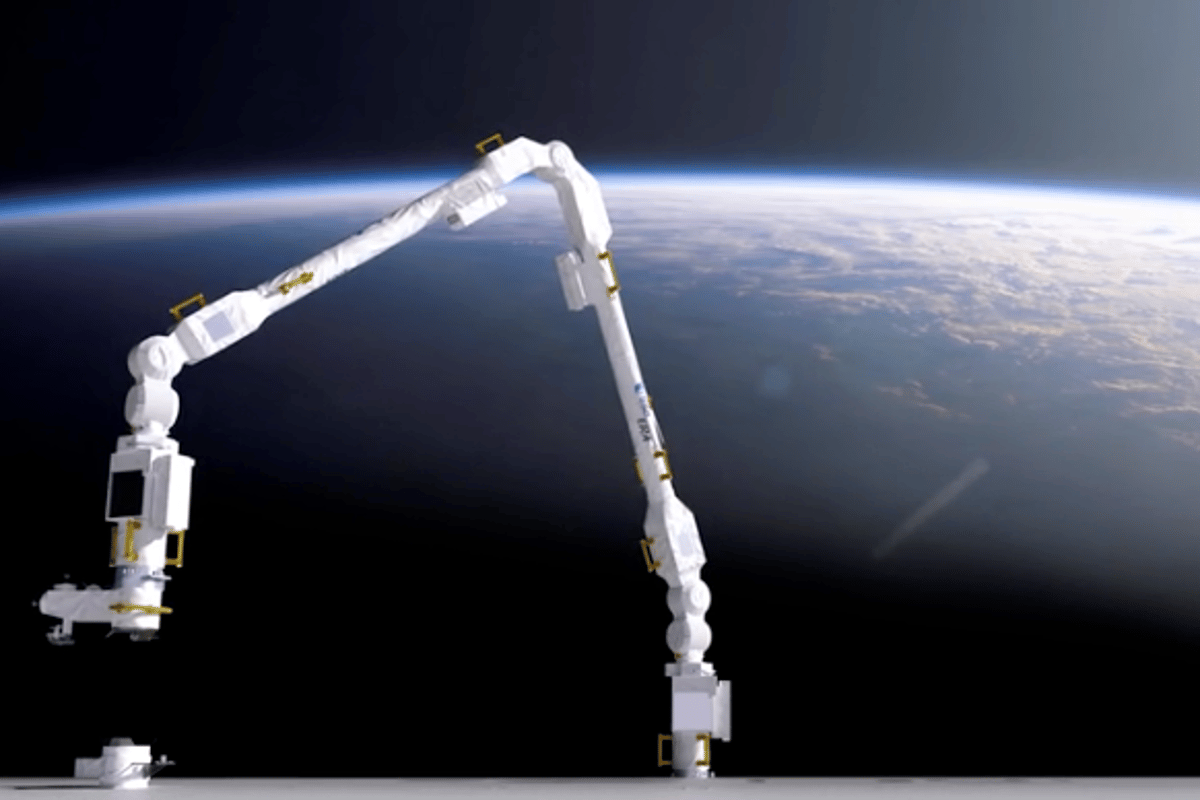 """Render of the European Robotic Arm (ERA), the first robot able to """"walk"""" around the Russian segment of the ISS"""