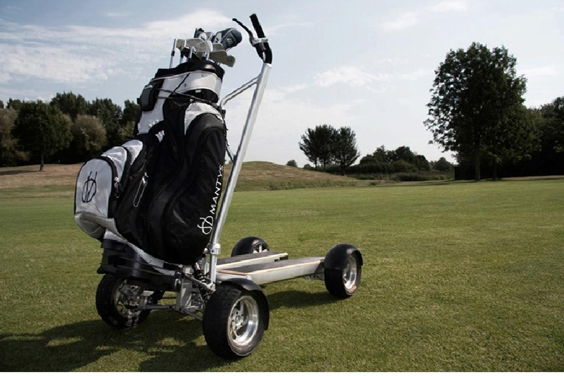 The Mantys electric golf vehicle from Leev has a top speed of 11mph, can travel 36 holes between charges and has a unique steering method