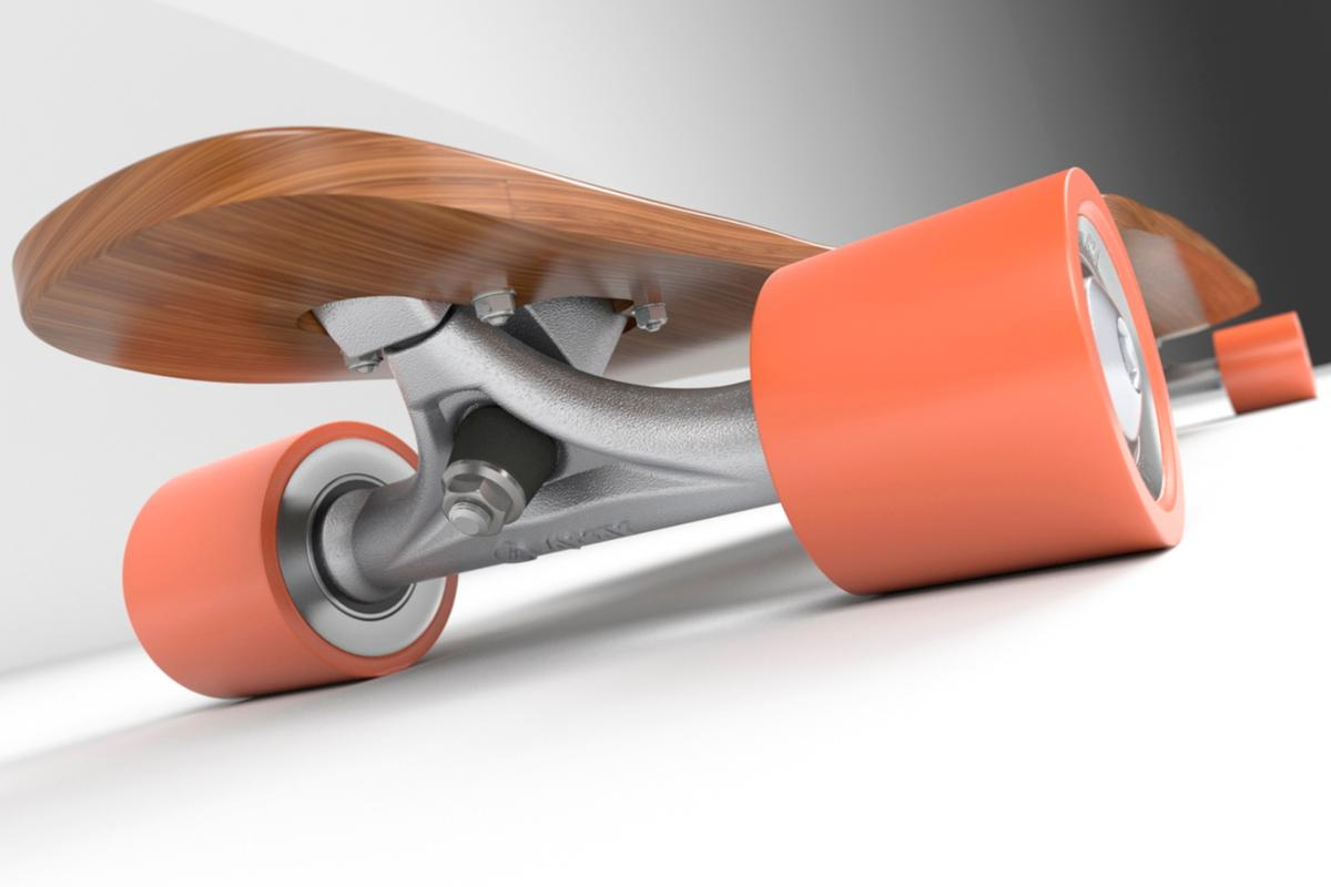 Each JayKay e-truckwheel has its own motor, the batteries areintegrated into the axle and the electronics enclosed within the housing