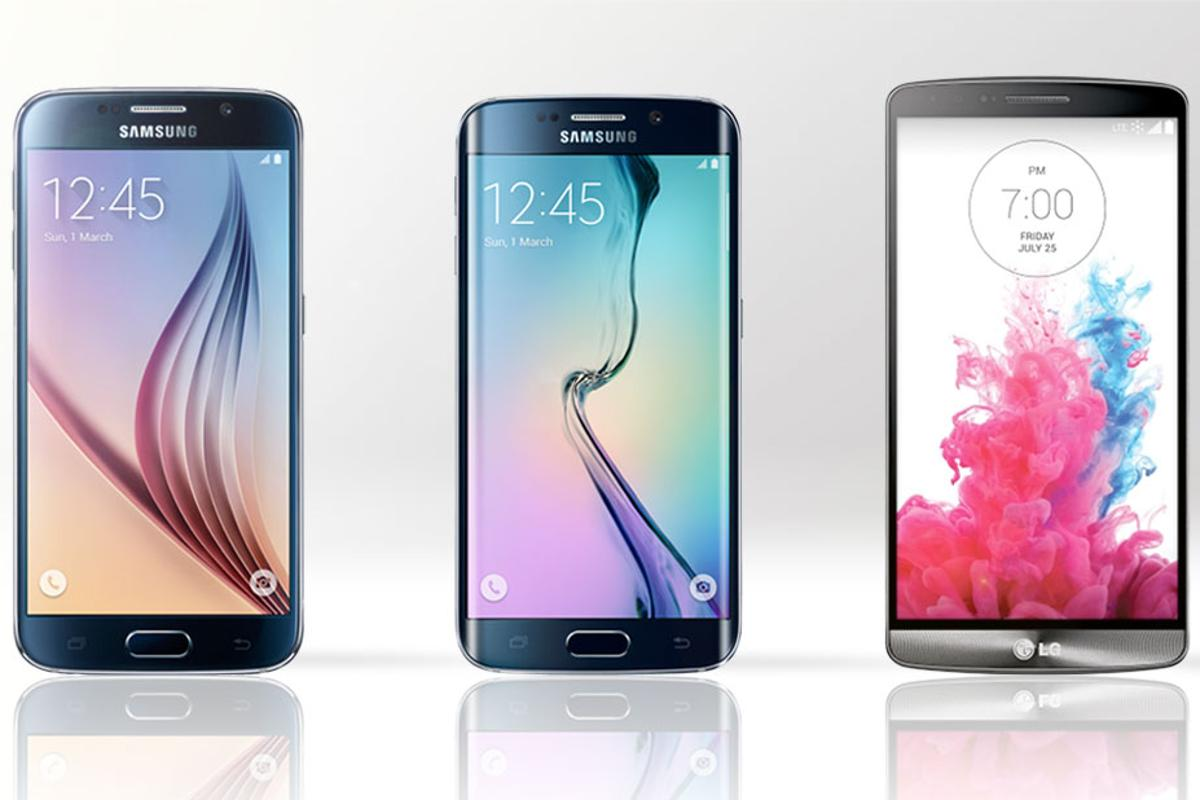 Gizmag compares the features and specs of the Samsung Galaxy S6 (left), Galaxy S6 edge (middle) and LG G3