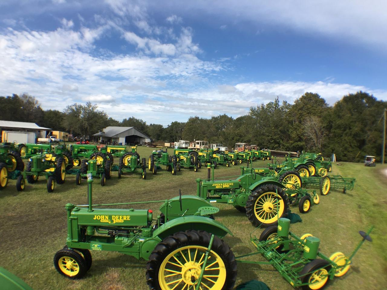 John Deere Heaven: This huge private collection of beautifully restored John Deere tractors belongs to Good Ol' Boys Antique Tractors and Farm Implements in West Palm Beach, FL.