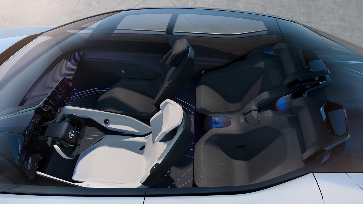 The interior of the Lexus LF-Z Electrified concept reveals a four-door, four-seat configuration with an ultra-modern design