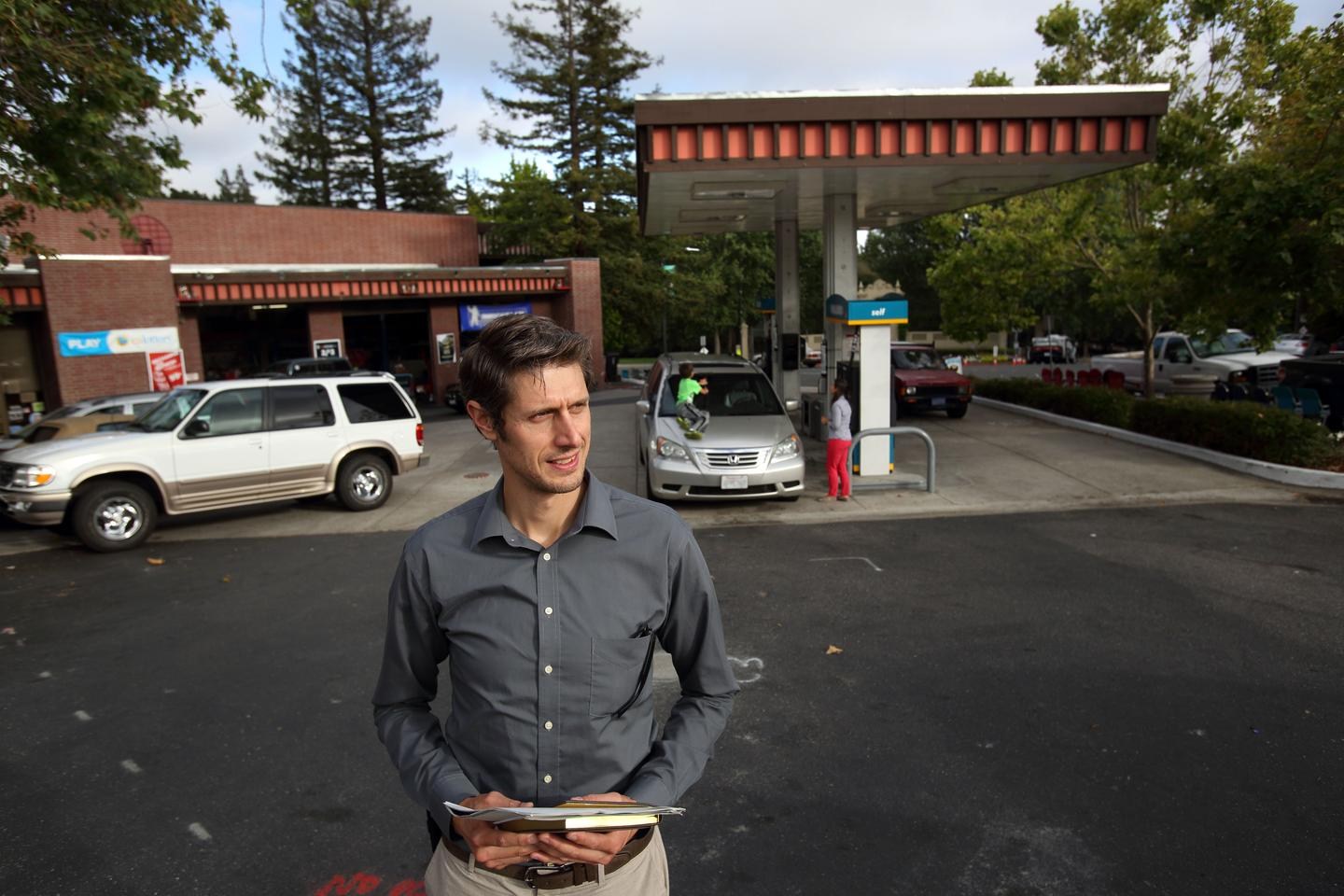 Sandia's Daniel Dedrick visits a station in Oakland, California, as part of a study into hydrogen fuel stations (Photo: Dino Vournas)