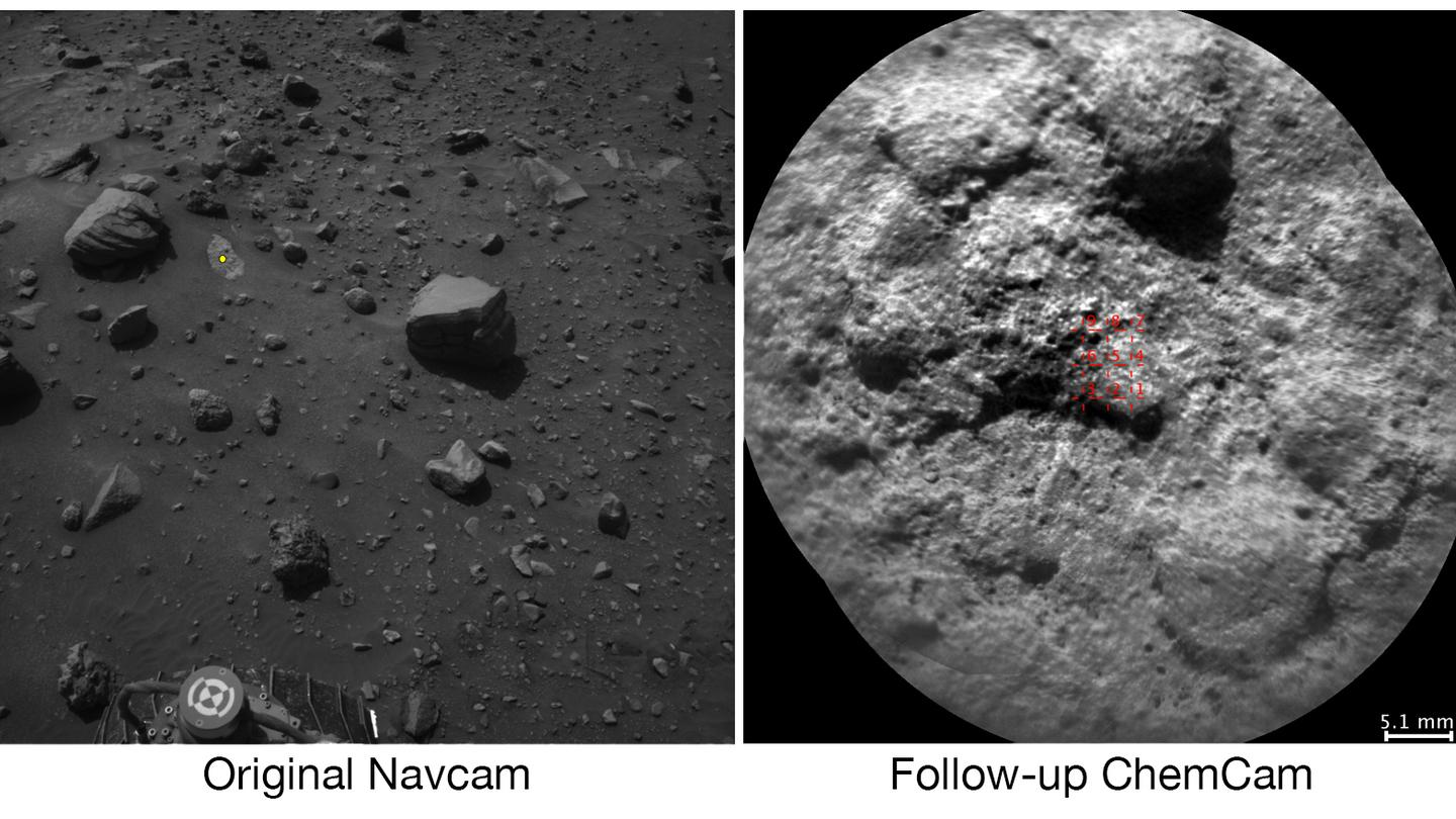 The image on the left shows a spot Curiosity saw with its Navcam and shows the spot it chose to shoot with its laser in yellow, while the image on the right provides a close-up of that area