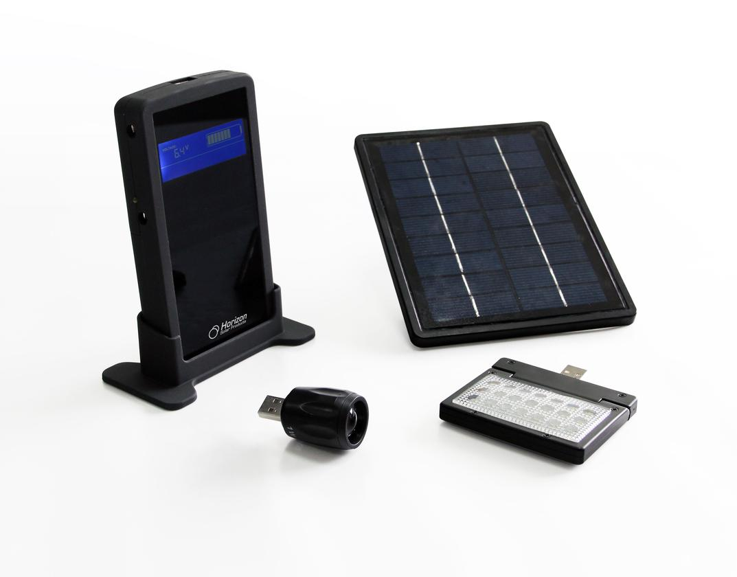 The Sunbox USB 3.0 solar charging system provides three types of lighting, recharges mobile devices, and includes rechargeable AA batteries