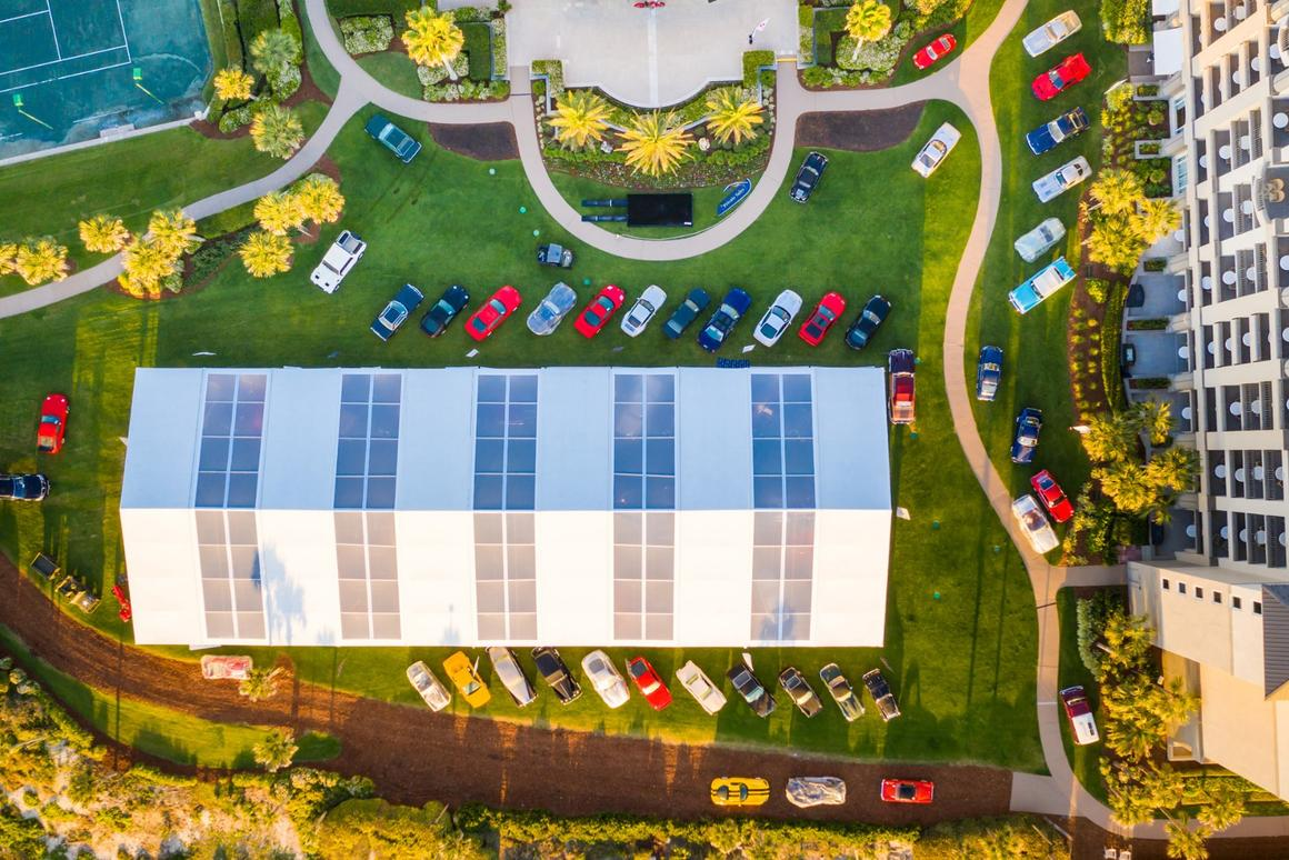 A bird's eye view of the RM Sotheby's marquee at the Ritz-Carlton. RM-Sotheby's is the official auction house of the Amelia Island Concours d'Elegance