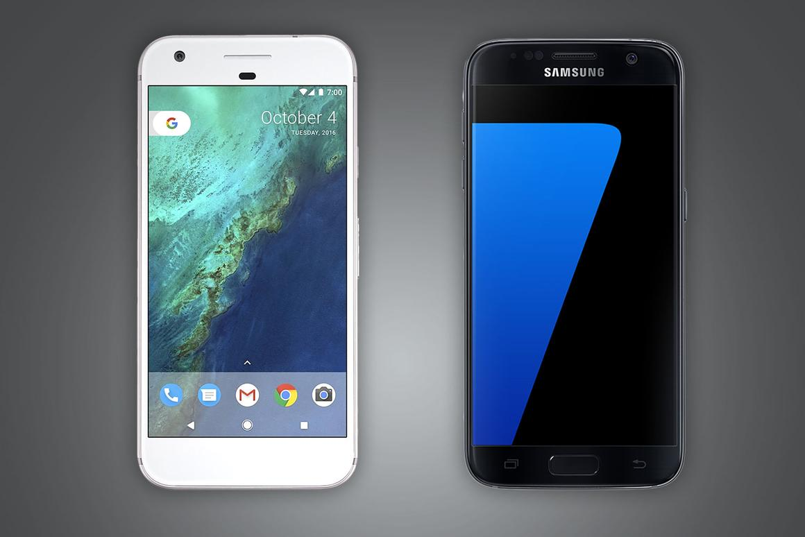 """Comparing Pixel, the first """"made by Google"""" phone, with Samsung's Galaxy S7, one of its top competitors"""