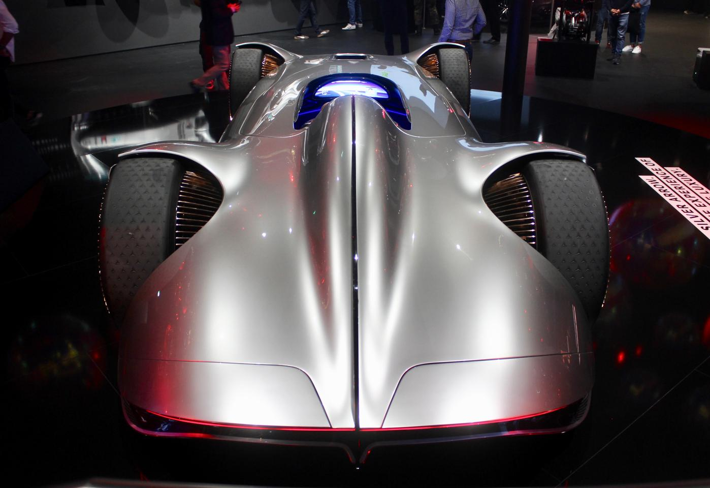 The 750-hp Mercedes Vision EQ Silver Arrow is another of the exorbitantly powerful electric cars of Frankfurt