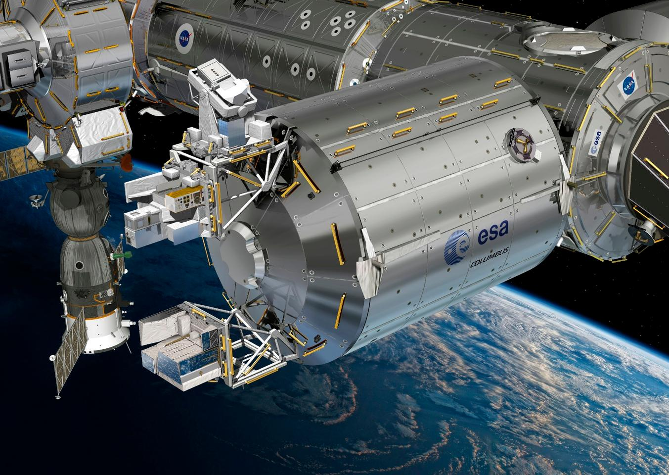 Artist's concept ofthe Atmosphere-Space Interactions Monitor (ASIM, bottom box) mounted to the European space laboratory Columbus