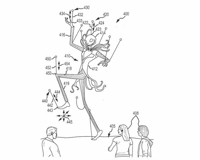 Perhaps the boldest of Disney's forward-thinking plans involves a flock of UAVs tethered to huge marionettes