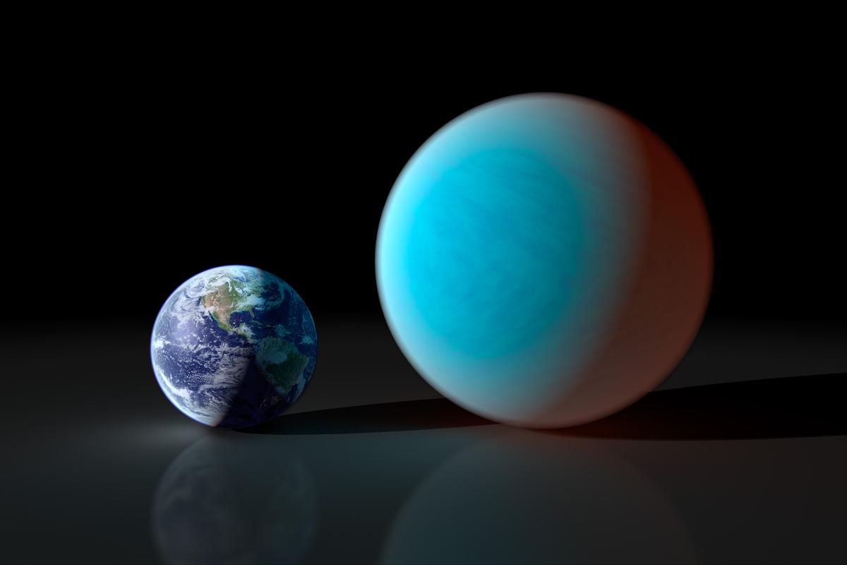 """Comparative sizes of Earth and a """"super-Earth"""" (Image: NASA/JPL-Caltech/R. Hurt (SSC))"""