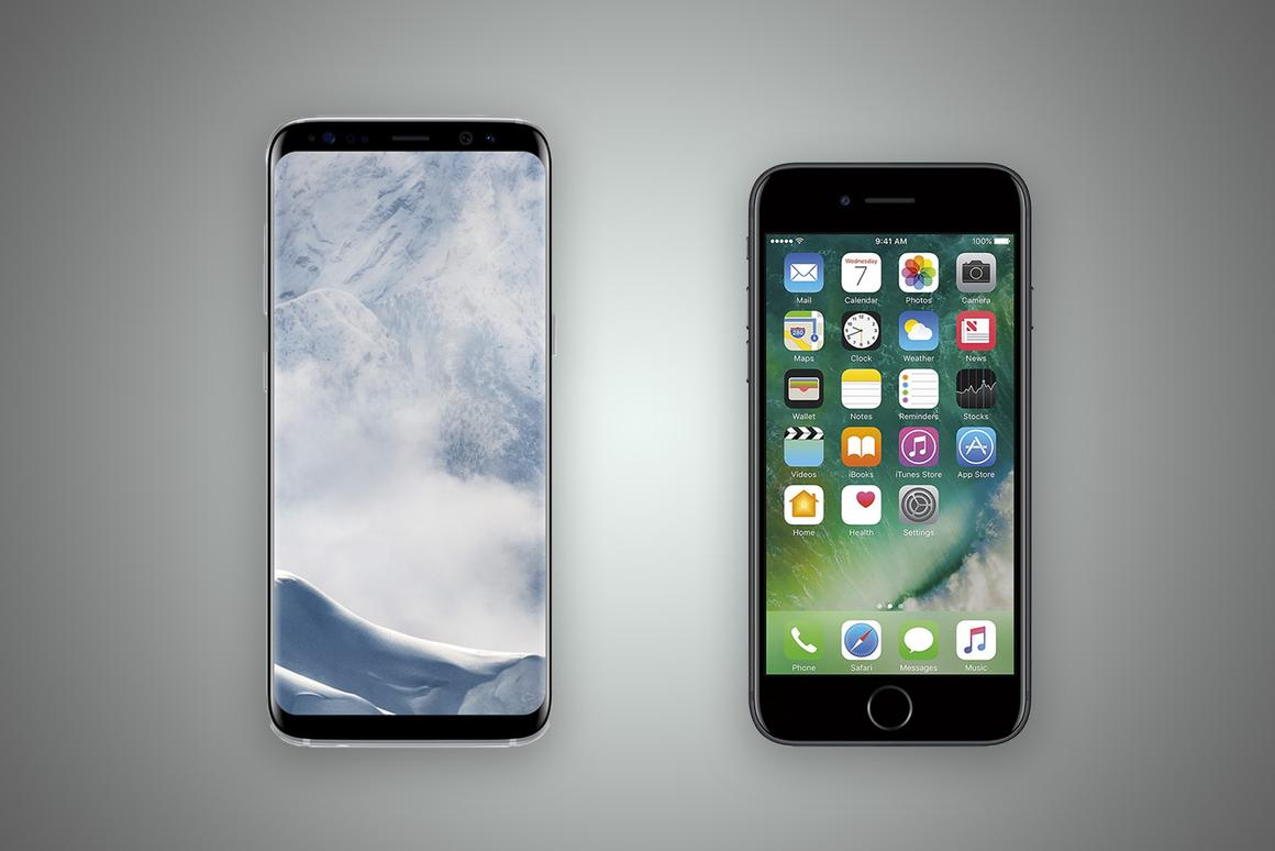 New Atlas compares the features and specs of the Samsung Galaxy S8 (left) and Apple iPhone 7