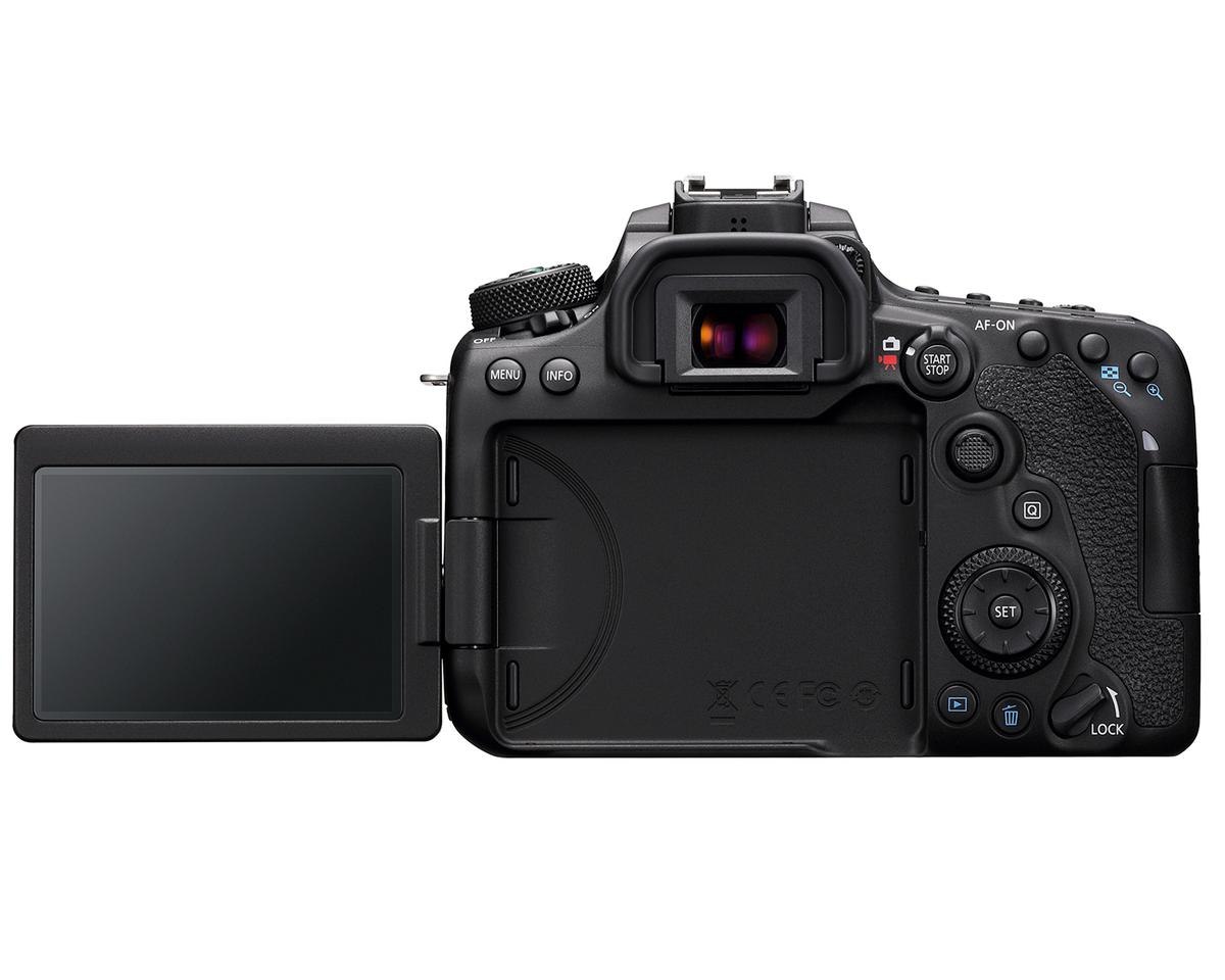 The EOS 90D features a 3-inch, 1.04 million dot vari-angle touchscreen panel