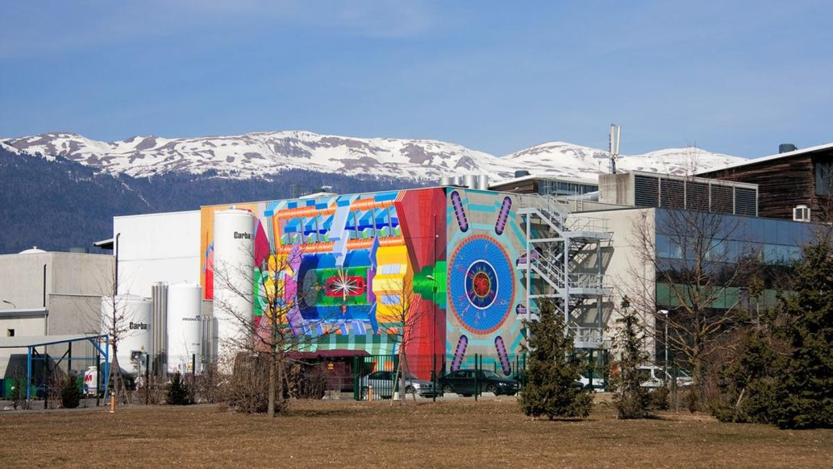 Artist Josef Kristofoletti designed and executed this magnificent mural adorning the ATLAS detector building of the Large Hadron Collider (Photo: J. Kristofoletti)