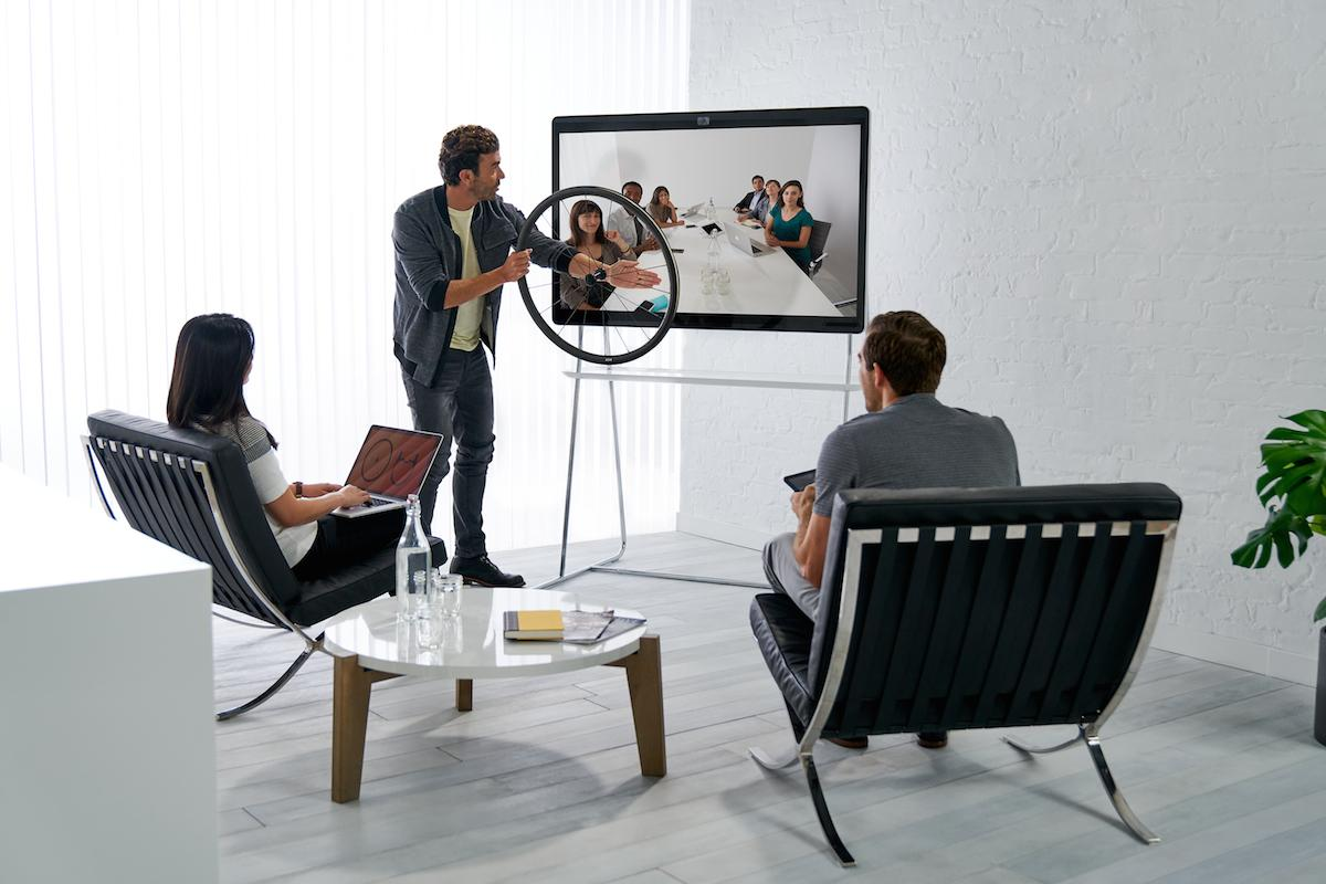 The Cisco Spark Board has a 4K camera and 12-microphone array built in, to allow for video conferencing